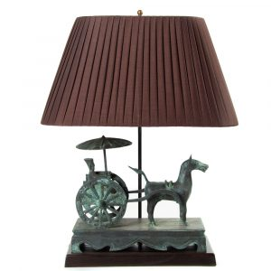Bronze chariot table lamp