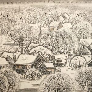 Snow in a Mountain Village, detail, ink and watercolour on rice paper by Li Xinsheng.