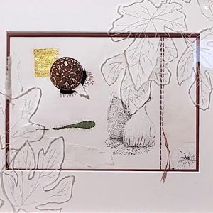 EVE'S FIG - FICUS CARICA BY VICTORIA PEARCE-Paper, silk, garnet, gold, ink, wood , cotton, engraved glass_51 x 44cm