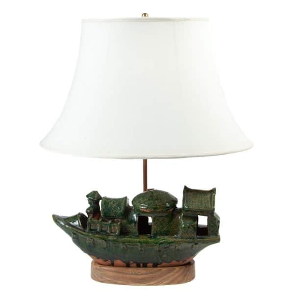 Green glazed pottery boat table lamp