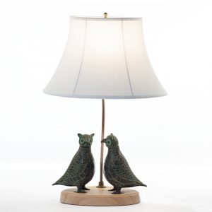 Twin owls bronze table lamp