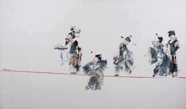 Clowns on a red wire by Cheng Yu