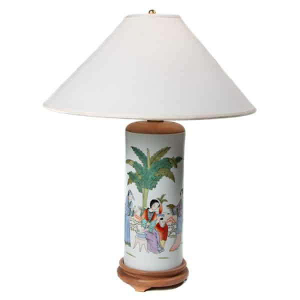 Family at leisure porcelain table lamp