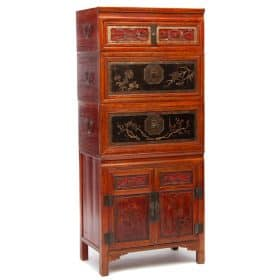 Chinese antique wedding chest and cabinet set