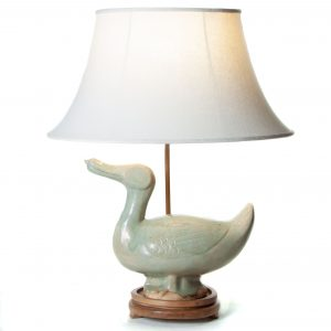 Green pottery duck table lamp