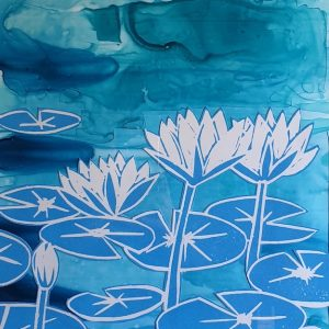 Pond 39/100, Lino print by Jennifer Baird