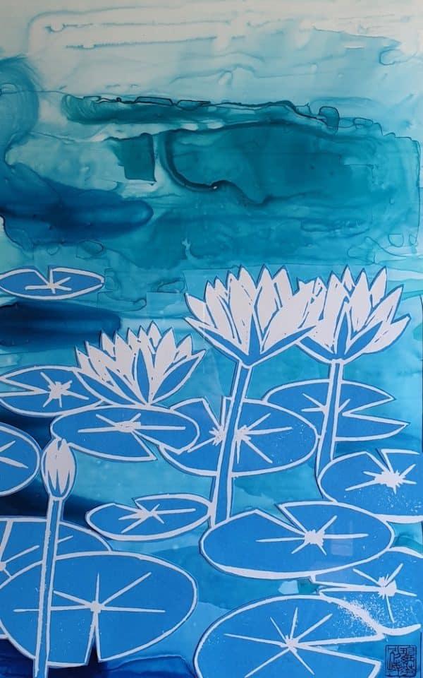 Pond 39/100, Lino print by Jennifer Baird