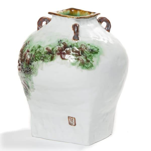 Unique hand painted vase by Wang Fangcheng
