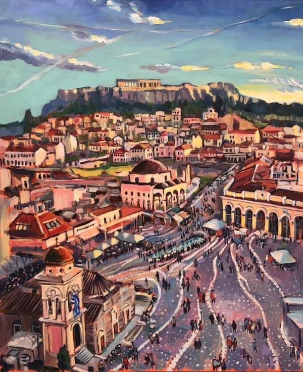 Lively Monastiraki by Valentyna Crane