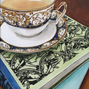 PJSmith_Anyoneforacuppa_watercolourandgoldpaintonarchespaper_21x30cm_$580