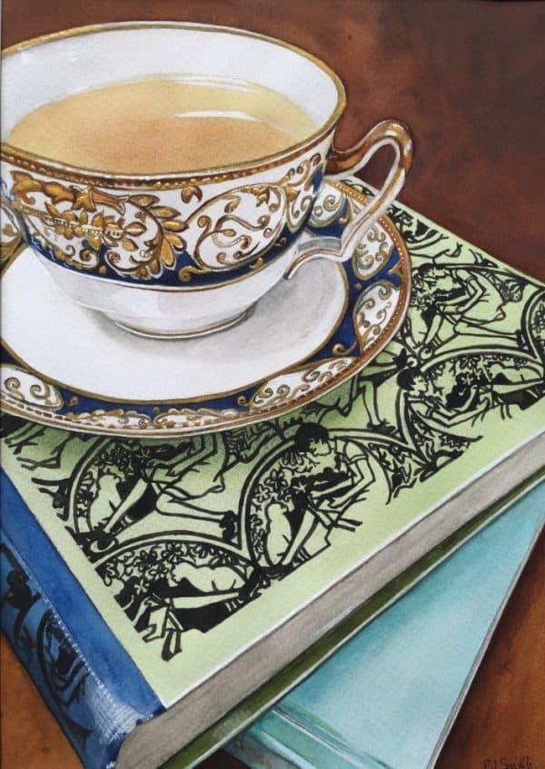 PJSmith_Anyoneforacuppa_watercolourandgoldpaintonarchespaper_21x30cm_$580
