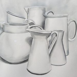 White Jugs by PJ Smith, Watercolour on Paper 2020