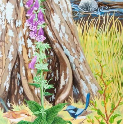 Foxglove and Blue Wrens_61x45_oil_$1800_detailed