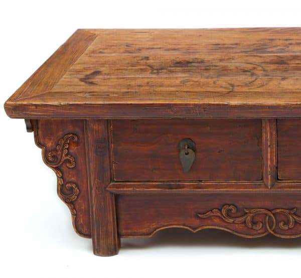 Low antique two drawer table detail