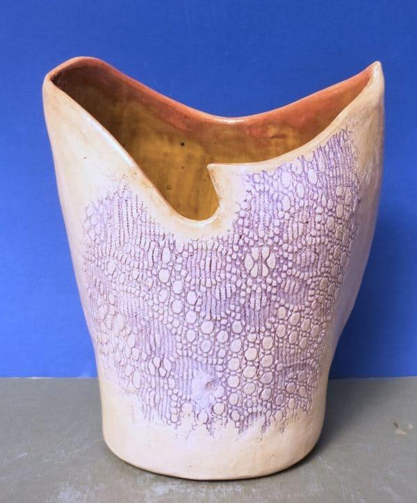 2. Elena Bozhko Marshall Vase for Dalias . Bird. Raku clay. Stains. Glaze 21sm l x 13w 26 sm h 2021